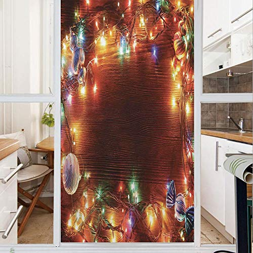 Decorative Window Film,No Glue Frosted Privacy Film,Stained Glass Door Film,Fairy Lights on Wooden Rustic Pine with Ornaments and Candy Lollies,for Home & Office,23.6In. by 78.7In Multi Color