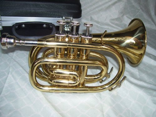Pocket trumpet with case and mouthpiece, gold
