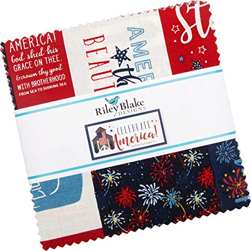 "Echo Park Paper Co. Celebrate America 5"" Stacker 42 5-inch Squares Charm Pack Riley Blake 5-8280-42"
