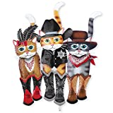 Collections Etc Old West Cat Trio Decorative Outdoor Yard Stake