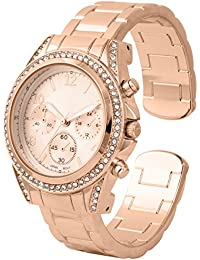 Charming Rose Gold Platted With Classic Round CZ Stainless steel Back Boyfriend Cuff/Bangle Watch