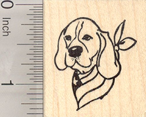 4th of July Beagle Rubber Stamp, Patriotic Dog