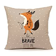 Cute Indian Fox Throw Pillow Cover Inspirational Quote Nursery Cushion Case 18 x 18 Inch Cotton Linen for Children's Birthday Gift (Be Brave Little One)