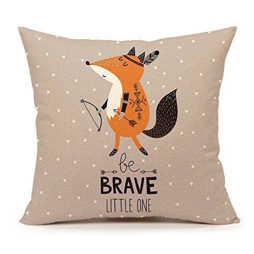 Cute Indian Fox Throw Pillow Cover Inspirational Quote Cushion Case 18 x 18 Inch Cotton Linen Children's Birthday Gift(Be Brave Little One)