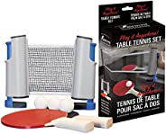 Swiftflyte Table Tennis Play Anywhere Set Includes 2 Paddles, 3 Balls, Retractable Net and Mesh Carry Bag for