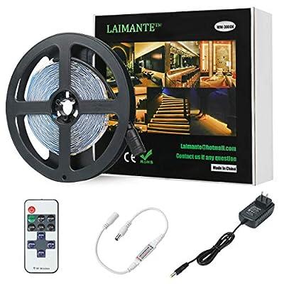 Laimante 5m/16.4ft 12V Led Strip Lights Kit, 3000K Warm White, SMD 2835 300LEDs Dimmable Led Tape with RF Remote Dimmer and UL Listed Power Supply, Under Cabinet Kitchen Bedroom Strip Lighting