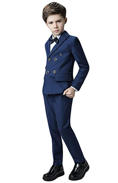 Amazon.com: Insun Boys Slim Fit 5 Piece Dress Suit Blazer ...