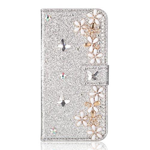 リネン保全忘れるOYIME iphone 8 Plus/ 7 Plus ケース 手帳型 おしゃれ お花 蝶々 デザイン かわいい きらきら デコ 女子 女性向け きれい 優雅 カバー 横開き マグネット カード収納 耐衝撃 滑り防止 スマホケース ハンドメイド アィフォン 7Plus 8Plus手帳型ケース PUレザー 携帯カバー (シルバー)