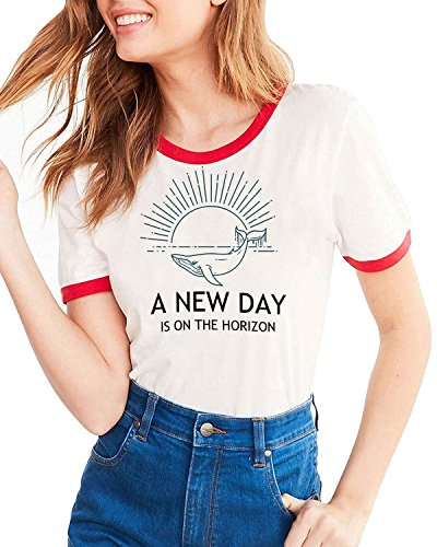 Ofenbuy Womens T Shirts Casual Short Sleeve Funny Ringer Graphic Tees T-Shirt Tops - Eye Ringer T-shirt
