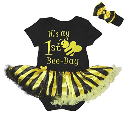Petitebella It's My 1st Bee Day Bodysuit Black Yellow Striped Tutu Nb-18m (Black, 12-18 Months)]()