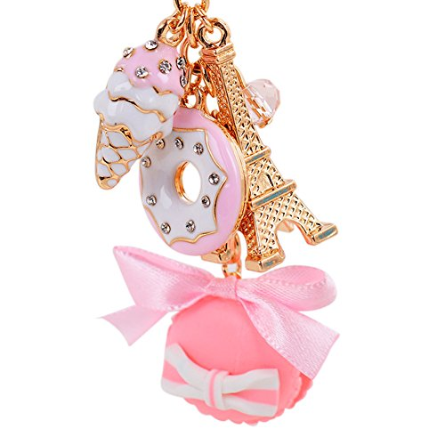 CHUANGLI Sweet Macaron Donuts Ice Cream Eiffiel Tower Keychain Bag Purse Decor Key Pendant Pink ()