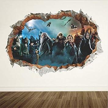 Harry Potter 3D Agujero Cartel De La Pared Escuela Hogwarts Pegatinas De Pared Mundo Magia Decoraciones Para Niños Habitación Tatuajes De Decoración ...