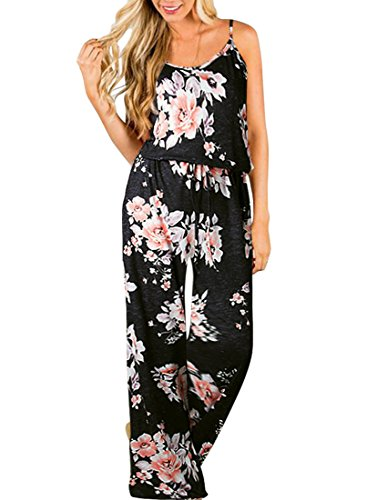 Women's Jumpsuits Summer Sexy Comfy Floral Sleeveless Spaghetti Strap Romper High Waist Wide Leg Long Pants Jumpsuit (M, Black)
