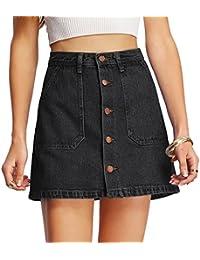 Women's Button Front Denim A-Line Short Skirt