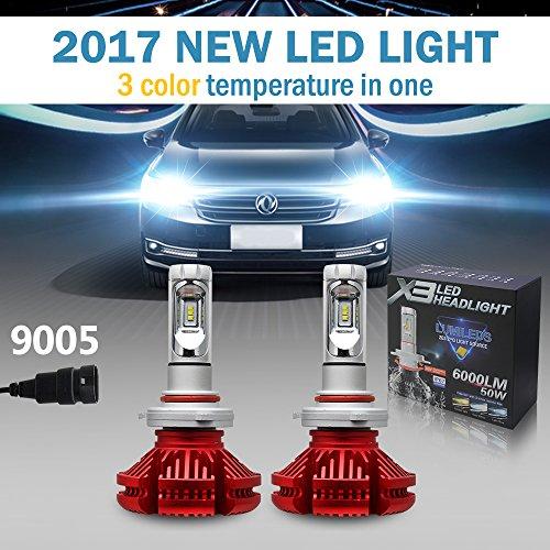 Jiuguang 9005/9006/H4/H11 LED Headlight Bulbs X3 Version ZES Chip 2nd Generation -50W 12000LM/pair IP68 200m Range Hi/Lo Beam (9005, Red)