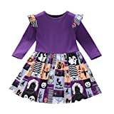 Baptism Gifts for Baby Girl,Baby Kids Girls Long Sleeve Demon Letter Printed Halloween Princess Dress Purple