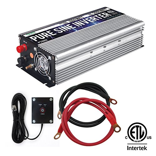 Marine Power Generators (Power TechON 1000W Pure Sine Wave Inverter 12V DC to 120V AC with 2 AC Outlets + 1 5V USB Port, 2 Battery Cables, and Remote Switch (2000W Peak) PS1002)