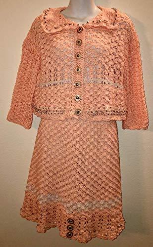 Crocheted peach & silver cotton jacket & skirt set