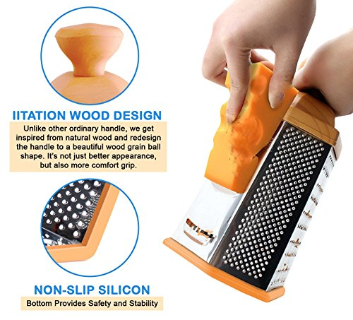 Bargain Stainless Steel Sharp Grater for Cheese, Vegetables, Parmesan, Potato, Carrot Dicer, 6 side Box, Wood looking Handle reviews