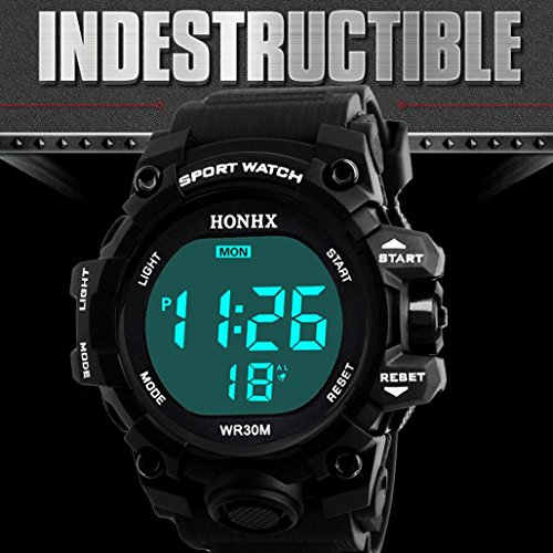 Price comparison product image Jaylove Clearance 2018 Hot Sale Men's Digital Sports Watch LED Screen Military Watches Waterproof Casual Luminous Wrist Watch (Black)