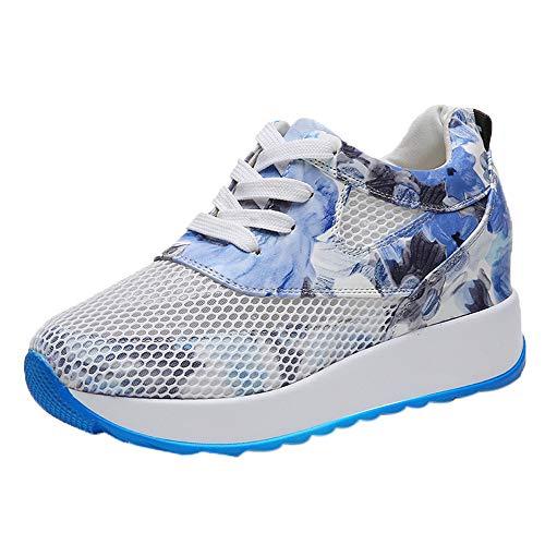 Zapatos Casual hasta Impreso Transpirables ALIKEEY Azul Hollow Encaje De Mujer Zapatos La Zapatillas Plataforma De De Deporte qA0ttngTw