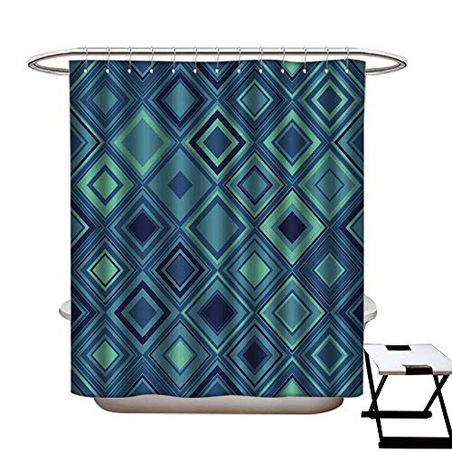 longbuyer Shower Curtain Art Print Polyester Seamless Geometric Pattern Wallpaper with a Pattern of Squares Aqua Shower CurtainW72 x L84