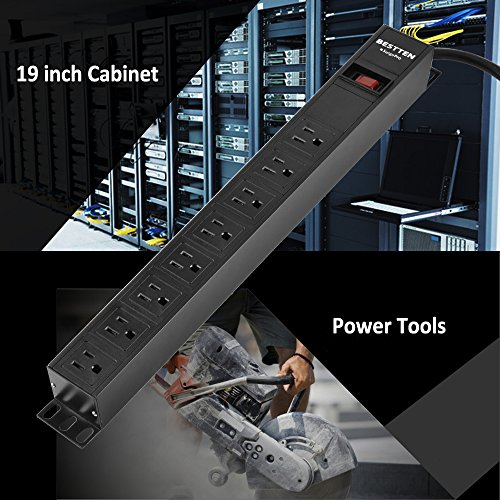 Bestten 8 Outlet Rack-Mount PDU, 1U/ 15A/125V, Aluminum Alloy 900J Surge Protector Power Strip, 9 Feet Cord, ETL Certified, Black by BESTTEN (Image #6)