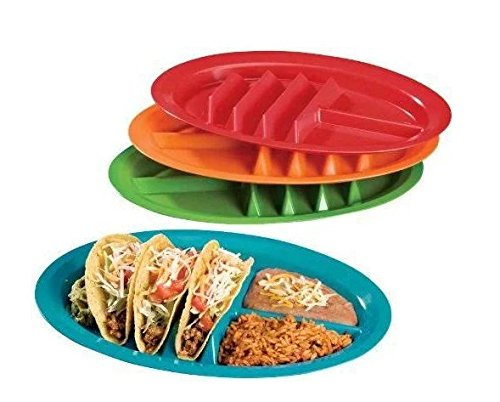 - (Set/4) Taco Divider Plates Set - Keep Shells Upright Dish W/Side Sections