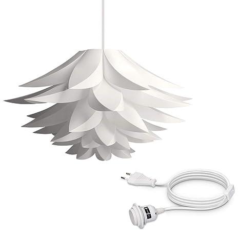 kwmobile Lámpara puzzle de techo DIY - Iluminación colgante flor de loto - Set cable de 5M y casquillo E27 - Lámpara rompecabezas color blanco