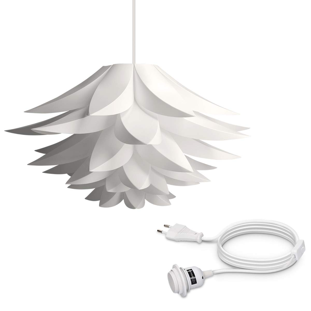 kwmobile Lámpara de puzzle colgante DIY - Iluminación de techo con diseño decorativo de flor de