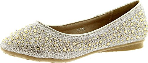 F-54K Little Girls Rhinestone Ballet Ballerina Flats Gold 1 (Gold Collection Ballerina)