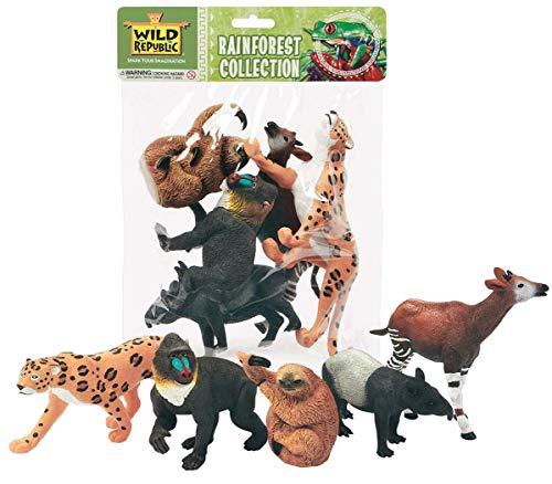 Wild Republic Polybag Rainforest, Jaguar, Tapir, Baboon, Brady Podidae, Okapi, Kid Gifts, 5 Piece