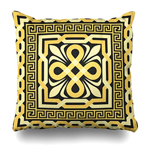 Greek Gold Design Square (Aika Designs Throw Pillows Covers Pillowcase Border Key Gold Pattern Interlacing Lines On Greek Antique Vintage Fret Ancient Home Decor Zippered 16