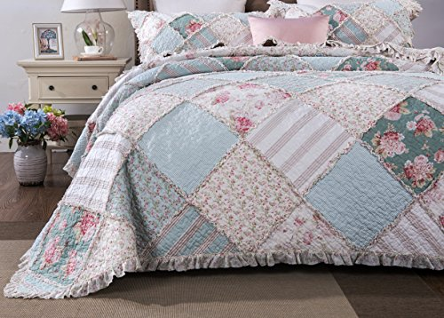 DaDa Bedding Patchwork Cotton Bedspread Quil Set - Hint of Mint Quilted Floral - Multi Colorful Ruffle Pastel Blue/Green - King - 3-Pieces (Ruffle Blue Bedding)