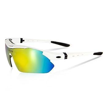 Queshark Bicicletas Ciclismo Deportes Gafas De Sol Polarizadas 4 Lentes Intercambiables De Protección UV (Blanco