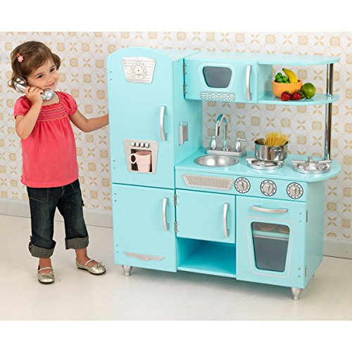 Blue Vintage Kitchen Lets Kids Pretend They Are Cooking
