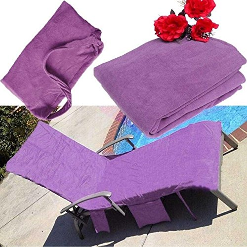 Corcrest(TM) 210x73cm Lounger Mate Beach Towel Microfiber Double Layers Sunbath Lounger Bed Holiday Garden Beach Chair Cover Towels 3 Colors[ Purple ]