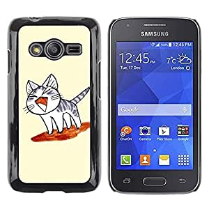 Paccase / SLIM PC / Aliminium Casa Carcasa Funda Case Cover - Cute Japanese Toast Flying Cat - Samsung Galaxy Ace 4 G313 SM-G313F