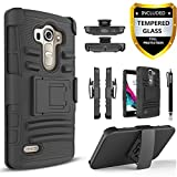 LG G4 Case, Dual Layers [Combo Holster] Case And Built-In Kickstand Bundled with [Tempered Glass Screen Protector] Hybird Shockproof And Circlemalls Stylus Pen[Black]