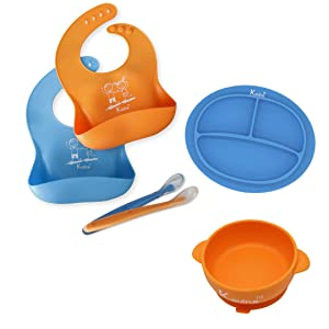 Baby Feeding Set | Silicone Toddler Plate and Bowl Set with Suction | 2 Silicone Soft Baby Spoons | 2 Silicone Bibs | Encourages Baby Led Weaning | Baby Shower Gift (Blue/Orange)