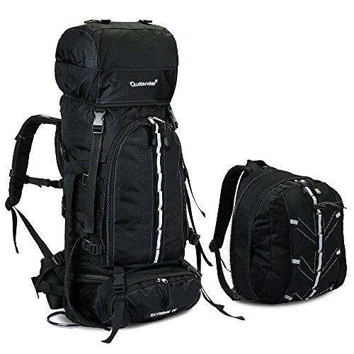 Skysper 80L Mochila de Senderismo Impermeable con bolsa extraíble Bolsa Macutos de Senderismo para Montañismo Escalada Marcha Trekking Camping Deporte Al Aire Libre viaje Negro