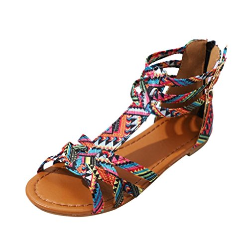 Ansenesna Sandalen Damen Sommer Flach Bunt Boho Vintage Schuhe Offen Reißverschluss Stoff Comfort Sommerschuhe Rosa