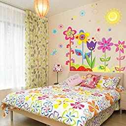 Ussore Wall Sticker Flower Butterfly Removable Vinyl Decal Art For Kids Home Living Room House Bedroom Bathroom Kitchen Office Home Decoration