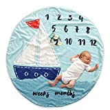 Round Milestone Blanket, Premium Quality Plush Fleece, Newborn Baby Milestone Blanket - Baby Shower Gift for Boy, Monthly Milestone Blanket, Keepsake Blanket, Photo Prop Blanket (Blue)