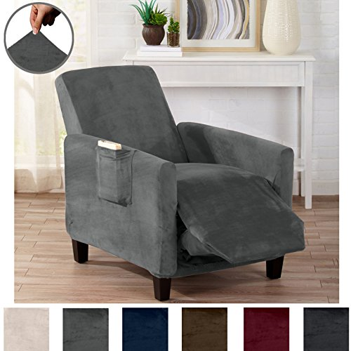 Modern Velvet Plush Strapless Slipcover. Form Fit Stretch, Stylish Furniture Cover / Protector. Gale Collection by Great Bay Home Brand. (Recliner, Wild Dove Grey)