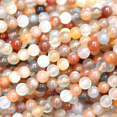 Natural Color Genuine Moonstone Round Real Gemstones Loose Beads for Jewerly Bracelet Making (6mm)
