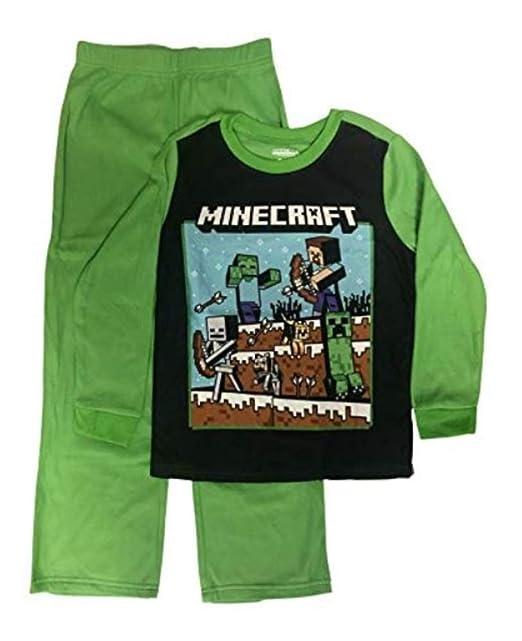 Amazon.com: Minecraft Pajamas Boys 2-Piece Steve Fighting ...