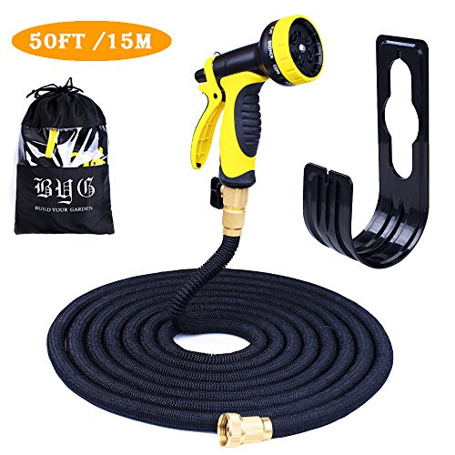 Expandable Garden Water Hose Pipe - BYG 50FT Flexible Hoses, Gardening Tools Magic Hose For Garden Lawn Irrigation, Car Wash and Pets Including Top Strongest Solid Brass Connector (50FT-NEW, Black)