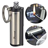 Honest Safety Stylish Luxurious Wind Proof Permanent Match Striker Cigarette Lighter with Key Chain - Silver