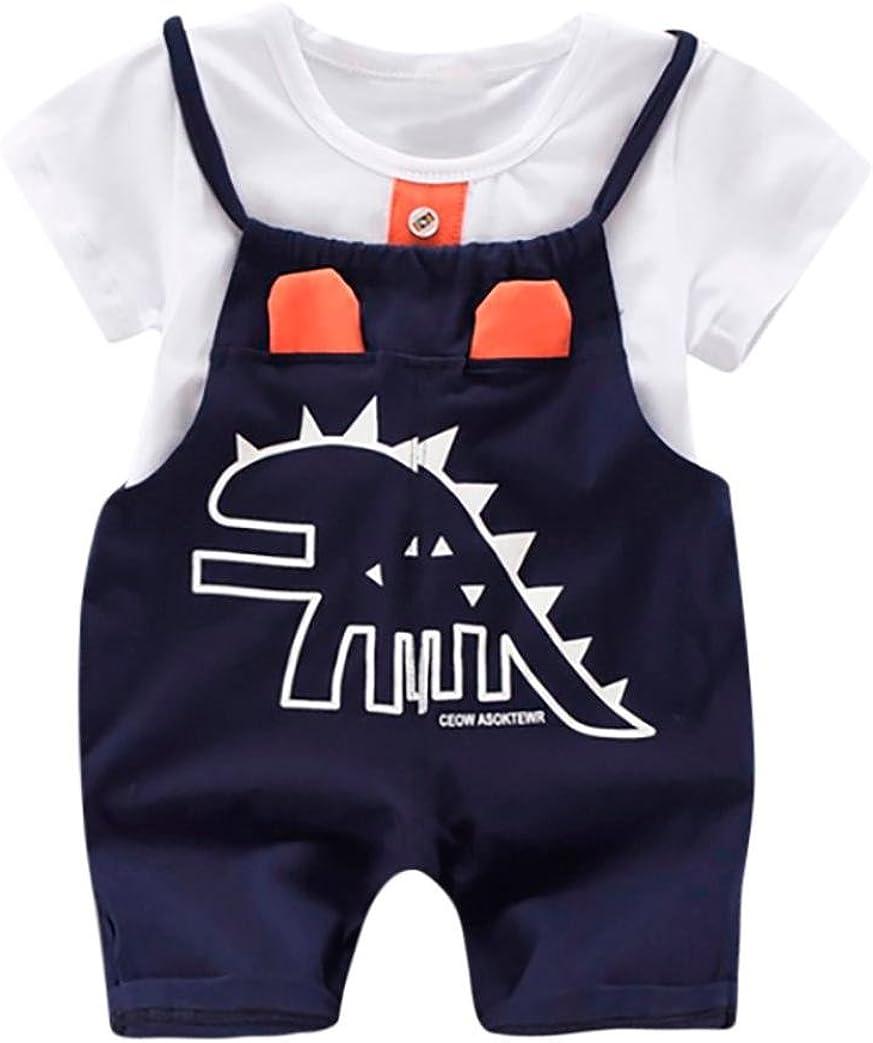 PAOLIAN Conjuntos para bebé niños Unisex Ropa para recién Nacidos Verano Camisetas + Tirantes de Pantalones Corta para bebés niño Impresion Dinosaurs de 12 Meses 18 Meses 24 Meses 3 años: Amazon.es: Ropa y accesorios